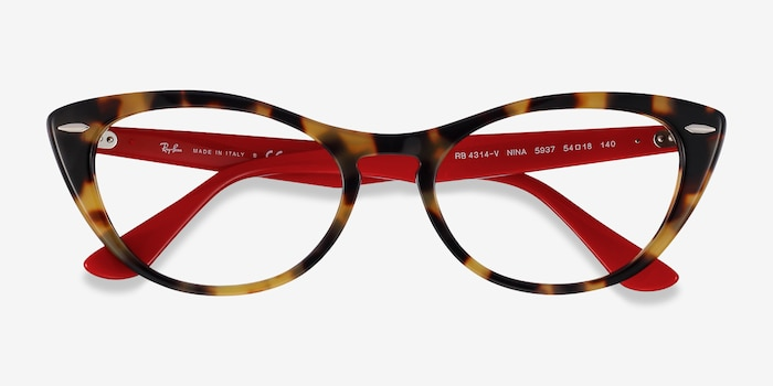 Ray-Ban Nina Tortoise Red Acetate Eyeglass Frames from EyeBuyDirect, Closed View