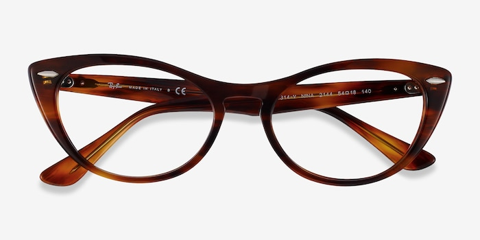 Ray-Ban Nina Tortoise Acetate Eyeglass Frames from EyeBuyDirect, Closed View