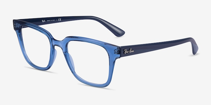 Ray-Ban RB4323V Clear Blue Plastic Eyeglass Frames from EyeBuyDirect, Angle View