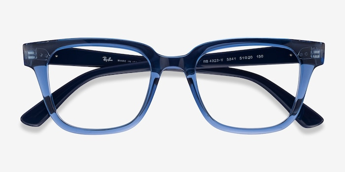 Ray-Ban RB4323V Clear Blue Plastic Eyeglass Frames from EyeBuyDirect, Closed View