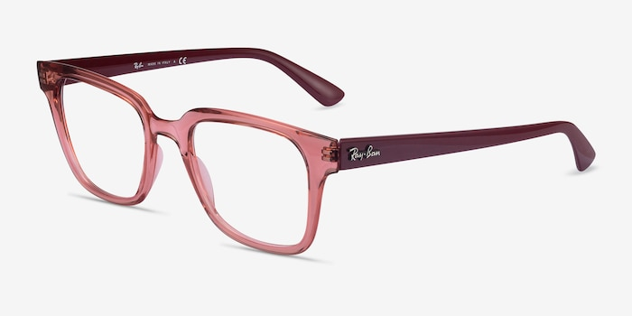 Ray-Ban RB4323V Clear Pink Plastic Eyeglass Frames from EyeBuyDirect, Angle View