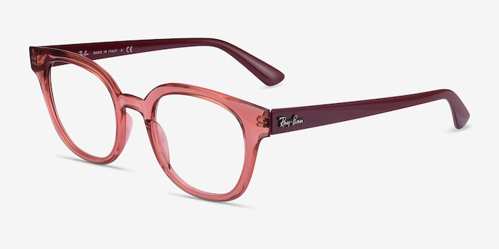 Ray-Ban RB4324V Clear Pink Plastic Eyeglass Frames from EyeBuyDirect, Angle View