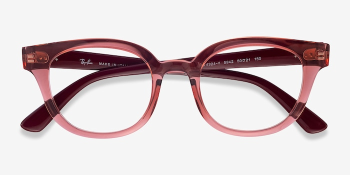 Ray-Ban RB4324V Clear Pink Plastic Eyeglass Frames from EyeBuyDirect, Closed View