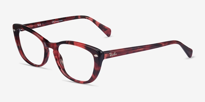 Ray-Ban RB5366 Pink Tortoise Acetate Eyeglass Frames from EyeBuyDirect, Angle View