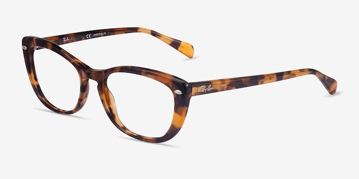 Ray-Ban RB5366 Tortoise Acetate Eyeglass Frames from EyeBuyDirect, Angle View