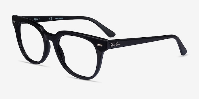 Ray-Ban Meteor Black Acetate Eyeglass Frames from EyeBuyDirect, Angle View