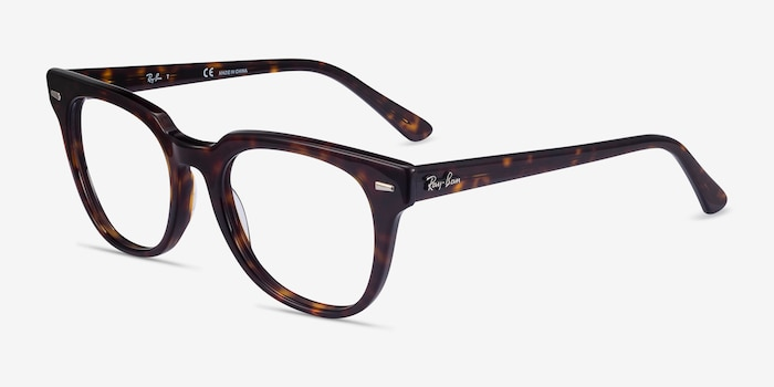 Ray-Ban Meteor Tortoise Acetate Eyeglass Frames from EyeBuyDirect, Angle View