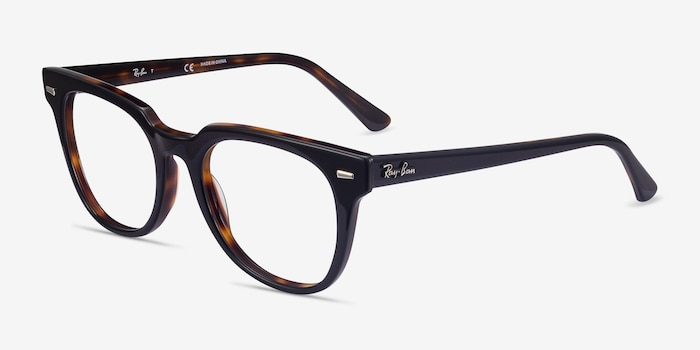 Ray-Ban Meteor Black Tortoise Acetate Eyeglass Frames from EyeBuyDirect, Angle View