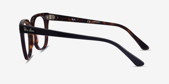 Ray-Ban Meteor Black Tortoise Acetate Eyeglass Frames from EyeBuyDirect, Side View