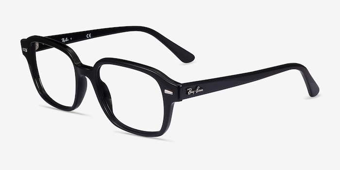 Ray-Ban RB5382 Black Acetate Eyeglass Frames from EyeBuyDirect, Angle View