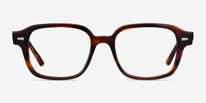 Ray-Ban RB5382 Striped Havana Acetate Eyeglass Frames from EyeBuyDirect, Front View