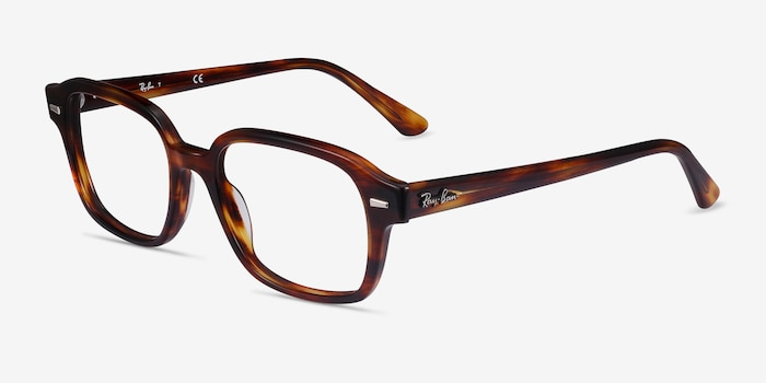 Ray-Ban RB5382 Striped Havana Acetate Eyeglass Frames from EyeBuyDirect, Angle View