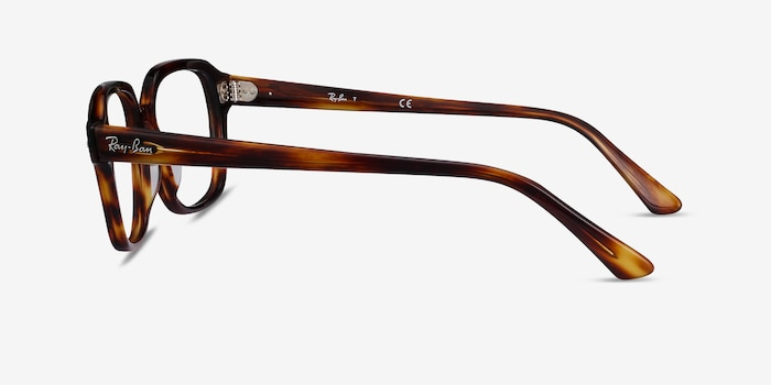 Ray-Ban RB5382 Striped Havana Acetate Eyeglass Frames from EyeBuyDirect, Side View
