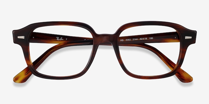 Ray-Ban RB5382 Striped Havana Acetate Eyeglass Frames from EyeBuyDirect, Closed View