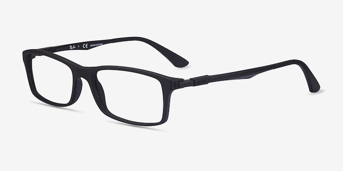 Ray-Ban RB7017 Black Plastic Eyeglass Frames from EyeBuyDirect, Angle View