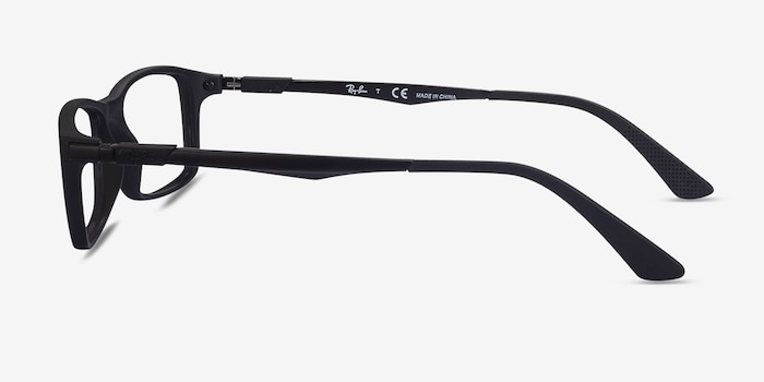 Ray-Ban RB7017 Black Plastic Eyeglass Frames from EyeBuyDirect, Side View