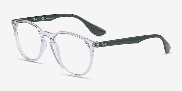 Ray-Ban RB7046 Clear Green Plastic Eyeglass Frames from EyeBuyDirect, Angle View