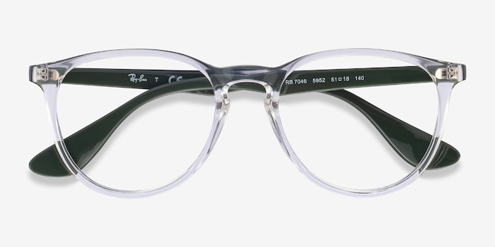 Ray-Ban RB7046 Clear Green Plastic Eyeglass Frames from EyeBuyDirect, Closed View