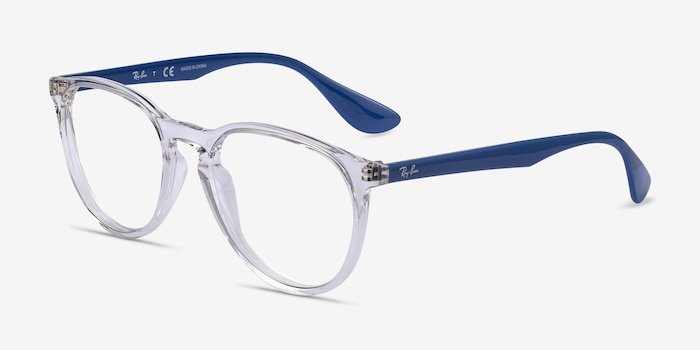 Ray-Ban RB7046 Clear Blue Plastic Eyeglass Frames from EyeBuyDirect, Angle View