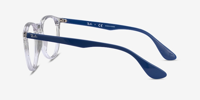 Ray-Ban RB7046 Clear Blue Plastic Eyeglass Frames from EyeBuyDirect, Side View