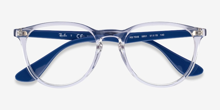 Ray-Ban RB7046 Clear Blue Plastic Eyeglass Frames from EyeBuyDirect, Closed View