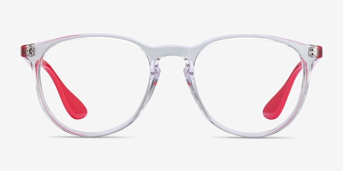 Ray-Ban RB7046 Clear Red Plastic Eyeglass Frames from EyeBuyDirect, Front View
