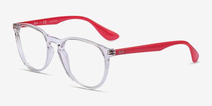 Ray-Ban RB7046 Clear Red Plastic Eyeglass Frames from EyeBuyDirect, Angle View