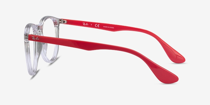 Ray-Ban RB7046 Clear Red Plastic Eyeglass Frames from EyeBuyDirect, Side View