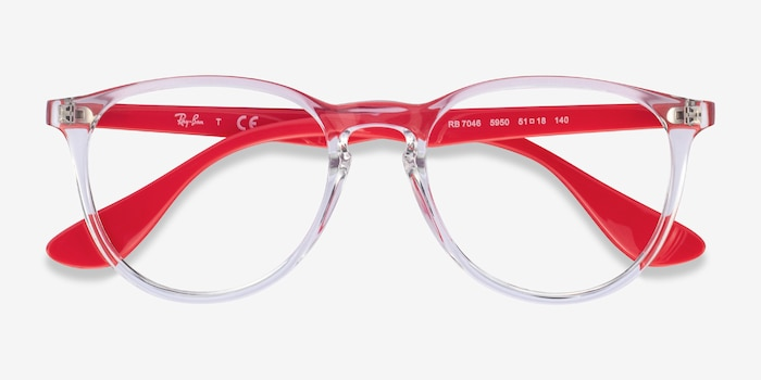 Ray-Ban RB7046 Clear Red Plastic Eyeglass Frames from EyeBuyDirect, Closed View