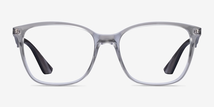 Ray-Ban RB7066 Clear Gray Plastic Eyeglass Frames from EyeBuyDirect, Front View