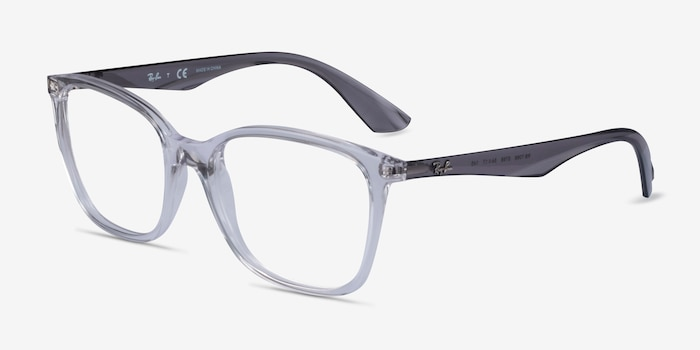 Ray-Ban RB7066 Clear Gray Plastic Eyeglass Frames from EyeBuyDirect, Angle View