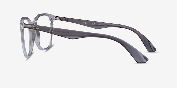 Ray-Ban RB7066 Clear Gray Plastic Eyeglass Frames from EyeBuyDirect, Side View