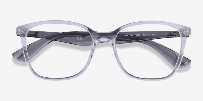 Ray-Ban RB7066 Clear Gray Plastic Eyeglass Frames from EyeBuyDirect, Closed View