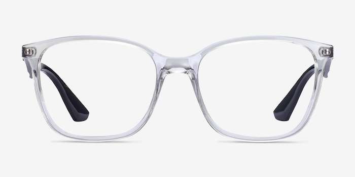 Ray-Ban RB7066 Clear Black Plastic Eyeglass Frames from EyeBuyDirect, Front View