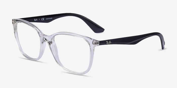 Ray-Ban RB7066 Clear Black Plastic Eyeglass Frames from EyeBuyDirect, Angle View