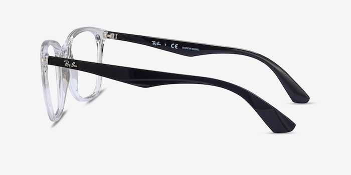 Ray-Ban RB7066 Clear Black Plastic Eyeglass Frames from EyeBuyDirect, Side View