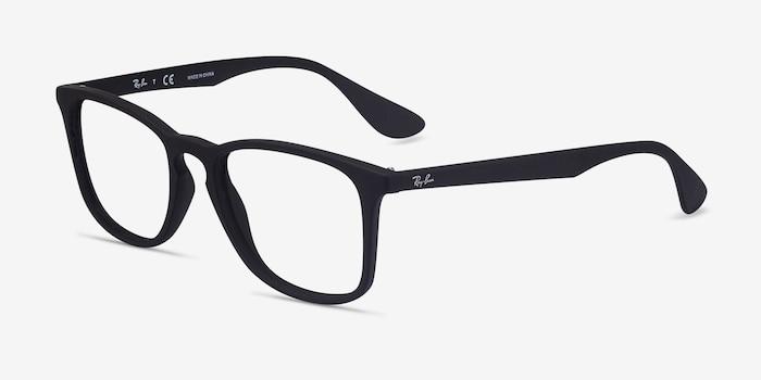 Ray-Ban RB7074 Black Plastic Eyeglass Frames from EyeBuyDirect, Angle View