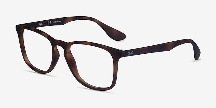 Ray-Ban RB7074 Tortoise Plastic Eyeglass Frames from EyeBuyDirect, Angle View
