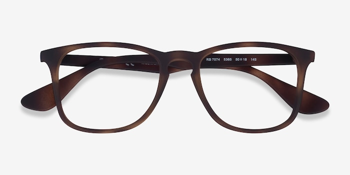 Ray-Ban RB7074 Tortoise Plastic Eyeglass Frames from EyeBuyDirect, Closed View
