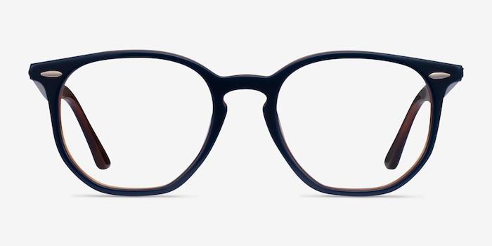 Ray-Ban RB7151 Blue Tortoise Acetate Eyeglass Frames from EyeBuyDirect, Front View