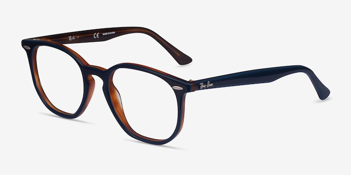 Ray-Ban RB7151 Blue Tortoise Acetate Eyeglass Frames from EyeBuyDirect, Angle View