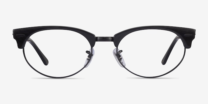 Ray-Ban Clubmaster Oval Black Striped Acetate Eyeglass Frames from EyeBuyDirect, Front View
