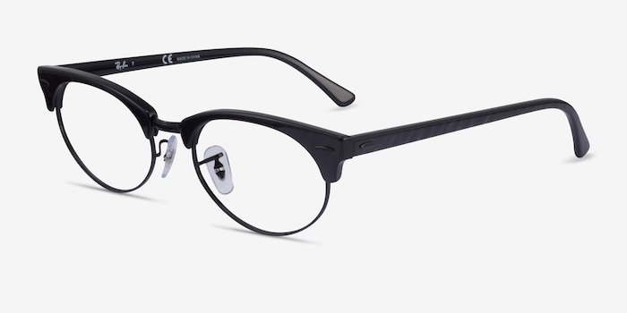 Ray-Ban Clubmaster Oval Black Striped Acetate Eyeglass Frames from EyeBuyDirect, Angle View