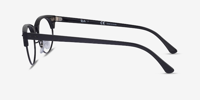 Ray-Ban Clubmaster Oval Black Striped Acetate Eyeglass Frames from EyeBuyDirect, Side View