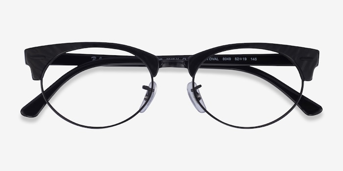 Ray-Ban Clubmaster Oval Black Striped Acetate Eyeglass Frames from EyeBuyDirect, Closed View