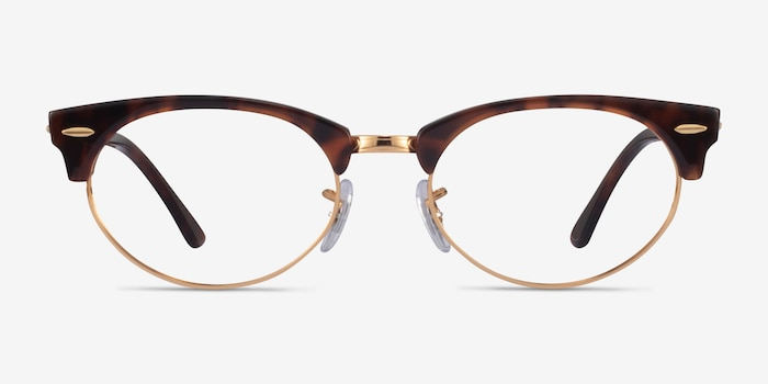 Ray-Ban Clubmaster Oval Tortoise & Gold Acetate Eyeglass Frames from EyeBuyDirect, Front View