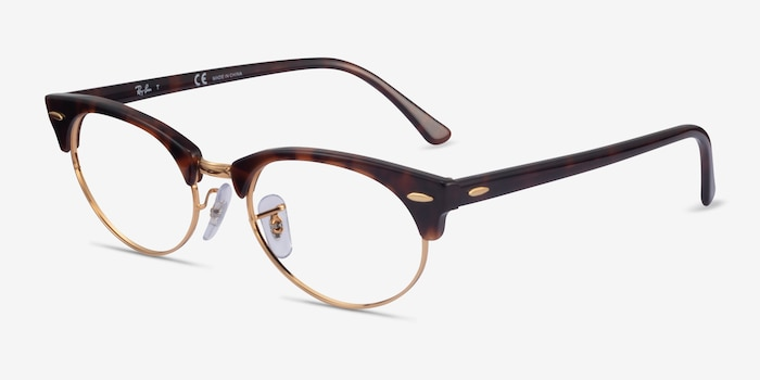 Ray-Ban Clubmaster Oval Tortoise & Gold Acetate Eyeglass Frames from EyeBuyDirect, Angle View