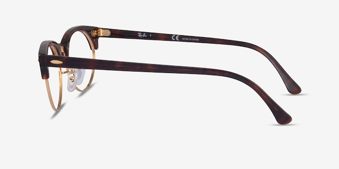Ray-Ban Clubmaster Oval Tortoise & Gold Acetate Eyeglass Frames from EyeBuyDirect, Side View