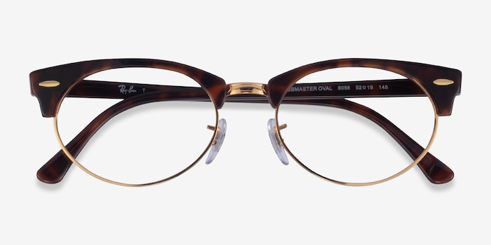 Ray-Ban Clubmaster Oval Tortoise & Gold Acetate Eyeglass Frames from EyeBuyDirect, Closed View