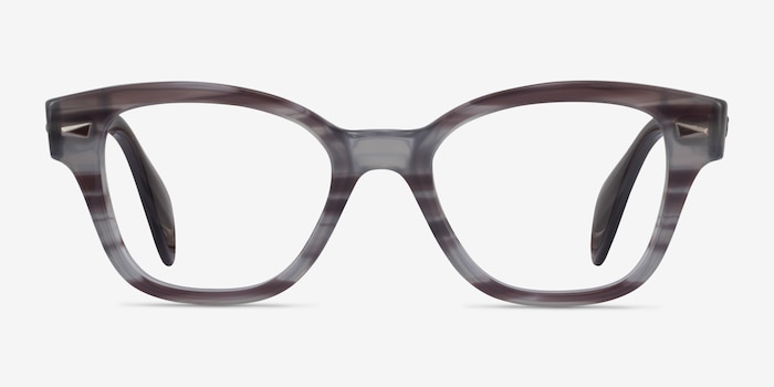 Ray-Ban RB0880 Gray Striped Acetate Eyeglass Frames from EyeBuyDirect, Front View